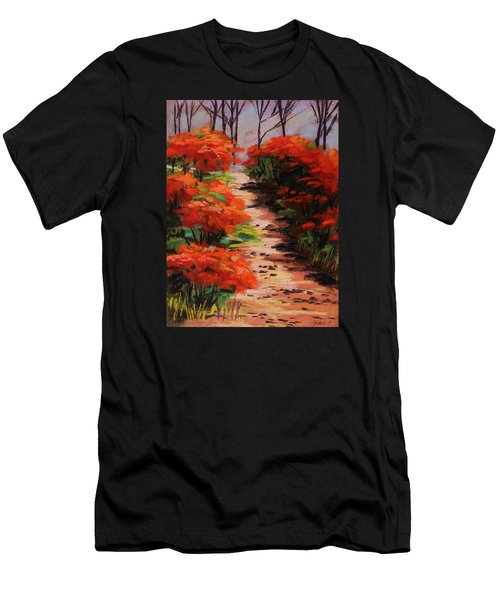 Men's T-Shirt (Slim Fit) featuring the painting Burning Bush Along The Lane by John Williams