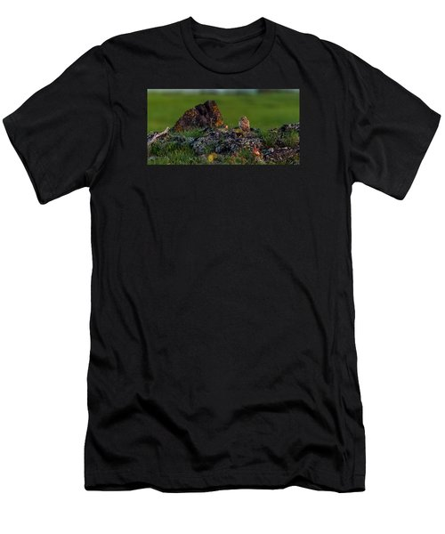 Men's T-Shirt (Slim Fit) featuring the photograph Burrowing Owl In Cactus #1 by Yeates Photography