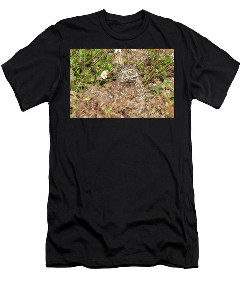 Men's T-Shirt (Athletic Fit) featuring the photograph Burrowing Owl With Wide Eye by Dan Friend