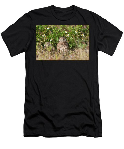Men's T-Shirt (Athletic Fit) featuring the photograph Burrowing Owls Outside Their Den by Dan Friend