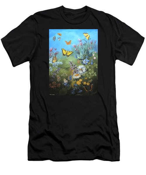 Butterflies And Wildflowers Of Wyoming Men's T-Shirt (Athletic Fit)