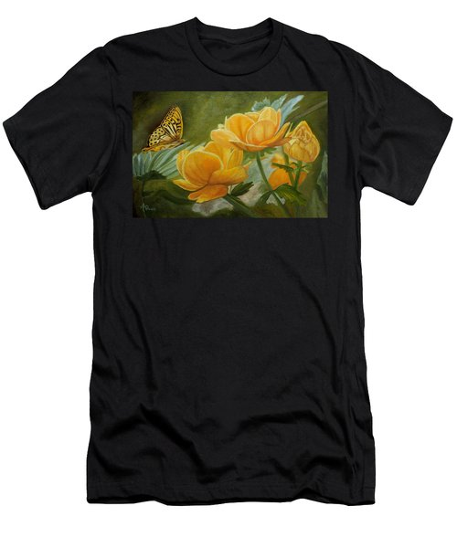 Men's T-Shirt (Athletic Fit) featuring the painting Butterfly Among Yellow Flowers by Angeles M Pomata