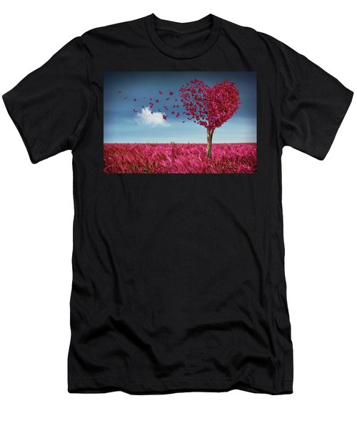 Butterfly Heart Tree Men's T-Shirt (Athletic Fit)