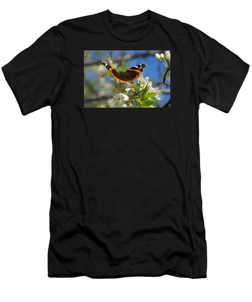 Butterfly On Blossoms Men's T-Shirt (Athletic Fit)