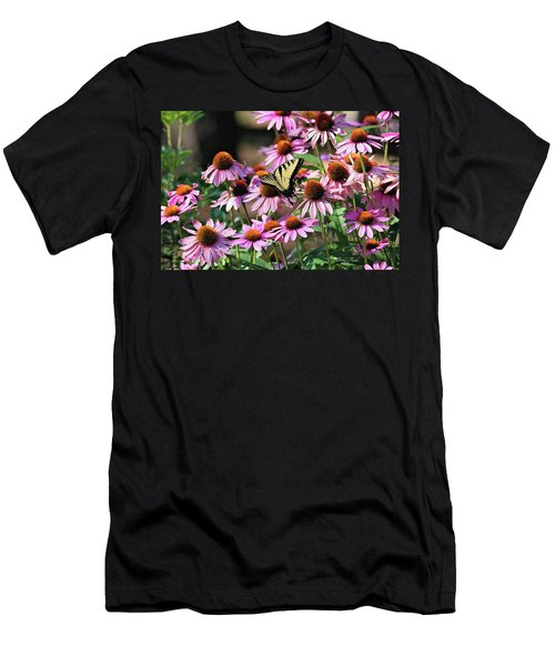 Men's T-Shirt (Athletic Fit) featuring the photograph Butterfly On Coneflowers by Trina Ansel