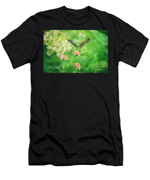 Butterfly On Lantana Montage Men's T-Shirt (Athletic Fit)