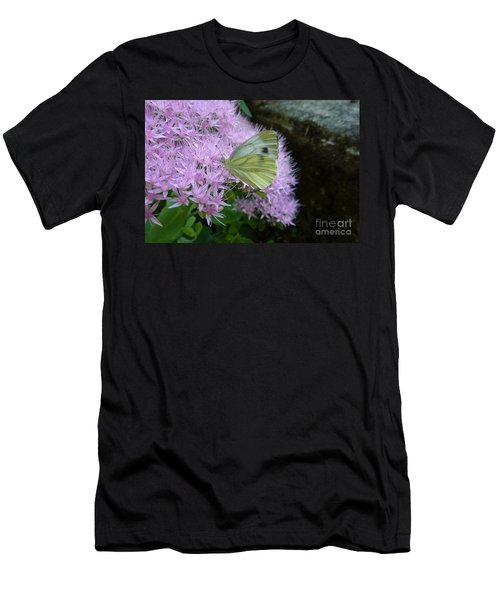 Butterfly On Mauve Flowers Men's T-Shirt (Athletic Fit)
