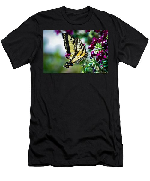 Butterfly On Purple Flowers Men's T-Shirt (Athletic Fit)