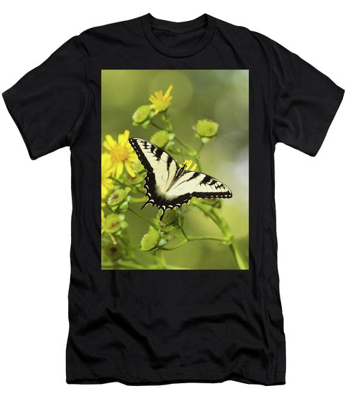 Butterfly On Yellow Men's T-Shirt (Athletic Fit)