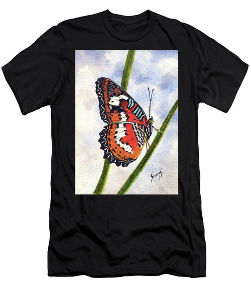 Men's T-Shirt (Athletic Fit) featuring the painting Butterfly - 171012 by Sam Sidders