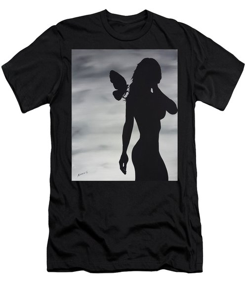 Men's T-Shirt (Slim Fit) featuring the painting Butterfly Silhouette by Edwin Alverio