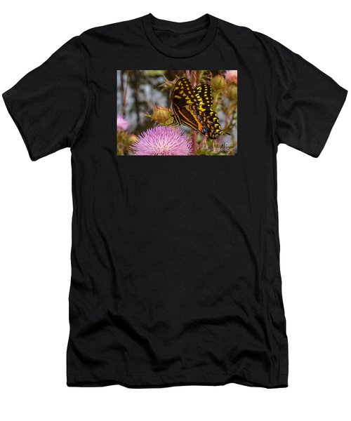 Men's T-Shirt (Athletic Fit) featuring the photograph Butterfly Visit by Tom Claud