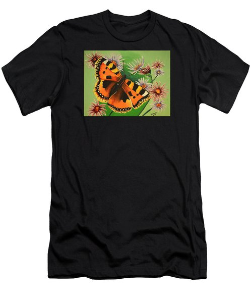 Butterfly With Asters Men's T-Shirt (Slim Fit) by Donna Blossom