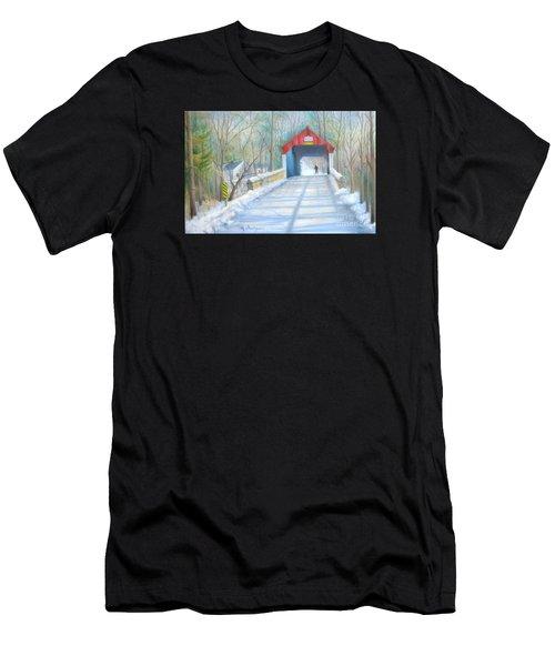 Cabin Run Bridge In Winter Men's T-Shirt (Athletic Fit)