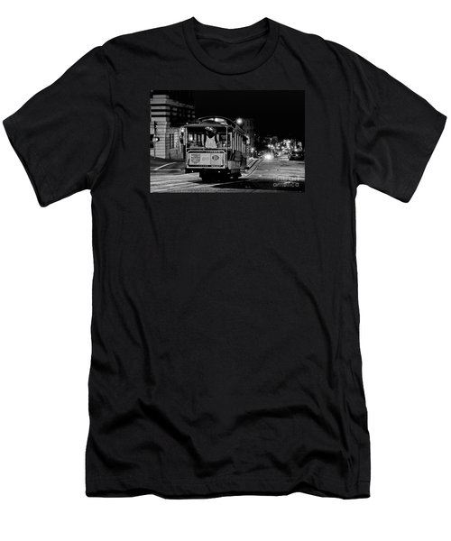 Cable Car At Night - San Francisco Men's T-Shirt (Athletic Fit)