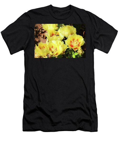Men's T-Shirt (Slim Fit) featuring the photograph Cactus Flowers And Friend by Sheila Brown