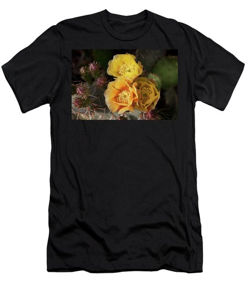 Yellow Cactus Flowers Men's T-Shirt (Athletic Fit)