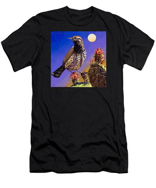 Men's T-Shirt (Slim Fit) featuring the painting Cactus Wren by Bob Coonts