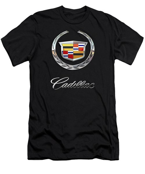 Cadillac - 3 D Badge On Black Men's T-Shirt (Slim Fit) by Serge Averbukh