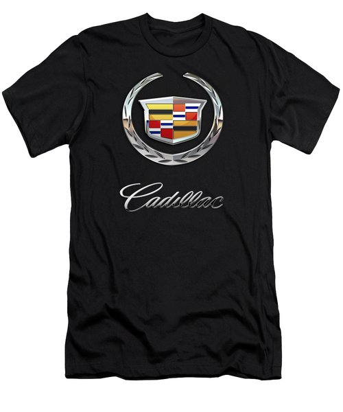 Cadillac - 3 D Badge On Black Men's T-Shirt (Athletic Fit)