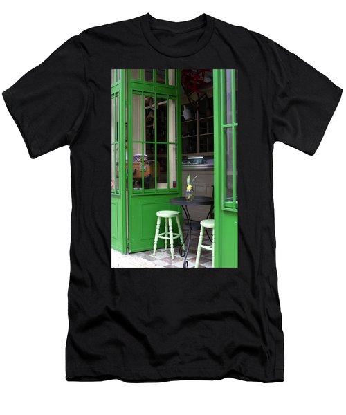 Men's T-Shirt (Slim Fit) featuring the photograph Cafe In Green by Lorraine Devon Wilke