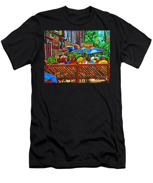 Men's T-Shirt (Slim Fit) featuring the painting Cafe Second Cup by Carole Spandau