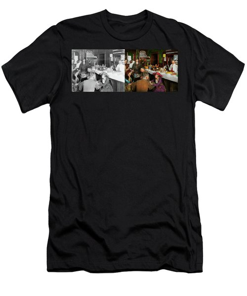 Men's T-Shirt (Slim Fit) featuring the photograph Cafe - Temptations 1915 - Side By Side by Mike Savad