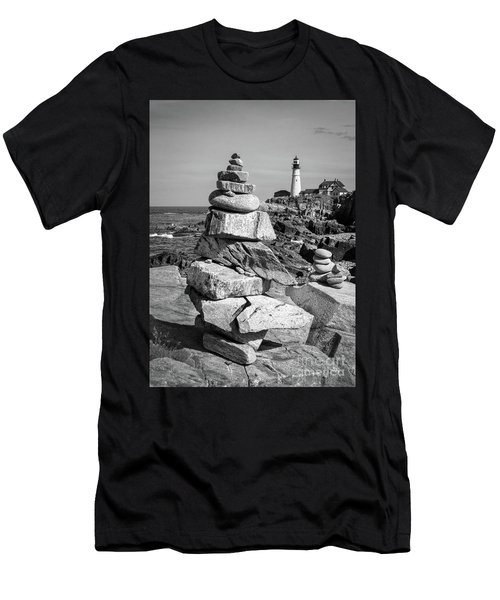 Cairn And Lighthouse  -56052-bw Men's T-Shirt (Athletic Fit)