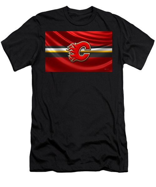 Calgary Flames - 3d Badge Over Flag Men's T-Shirt (Athletic Fit)