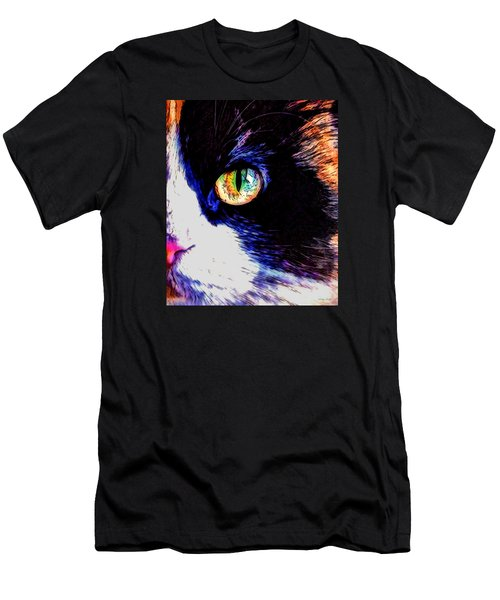 Men's T-Shirt (Slim Fit) featuring the photograph Calico Cat by Kathy Kelly