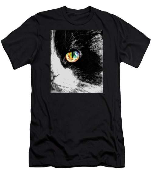 Calico Cat With A Splash Men's T-Shirt (Slim Fit) by Kathy Kelly