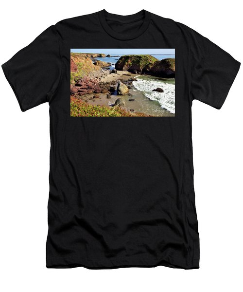 California Coast Rocks Cliffs Iceplant Men's T-Shirt (Athletic Fit)