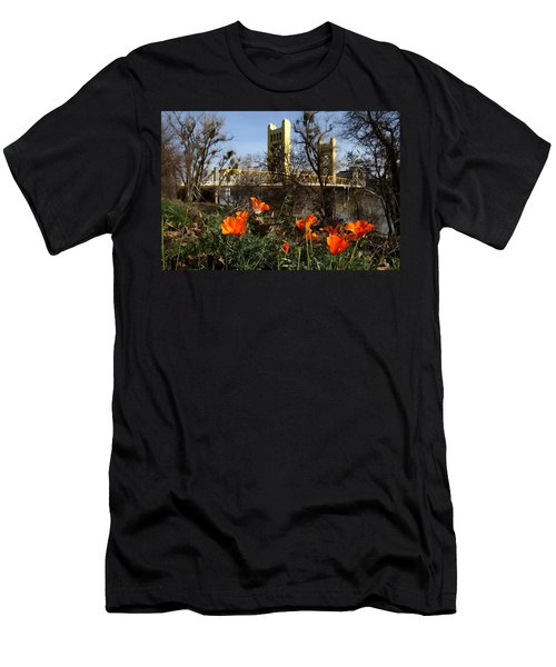California Poppies With The Slightly Photographically Blurred Sacramento Tower Bridge In The Back Men's T-Shirt (Athletic Fit)