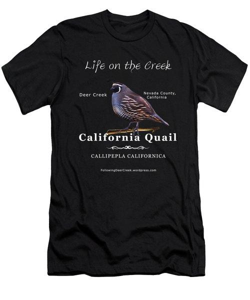 California Quail - Color Bird - White Text Men's T-Shirt (Athletic Fit)