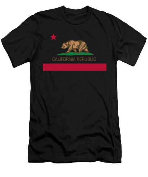 California Republic State Flag Authentic Version Men's T-Shirt (Athletic Fit)
