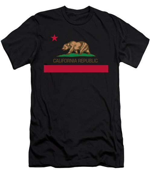 California Republic State Flag Authentic Version Men's T-Shirt (Athletic Fit)
