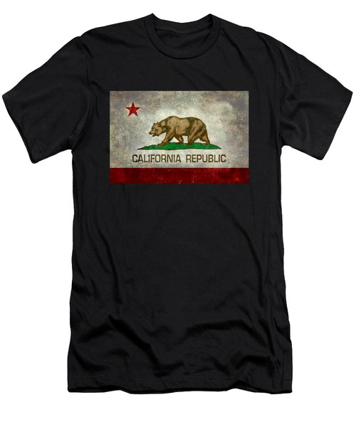 California Republic State Flag Retro Style Men's T-Shirt (Athletic Fit)