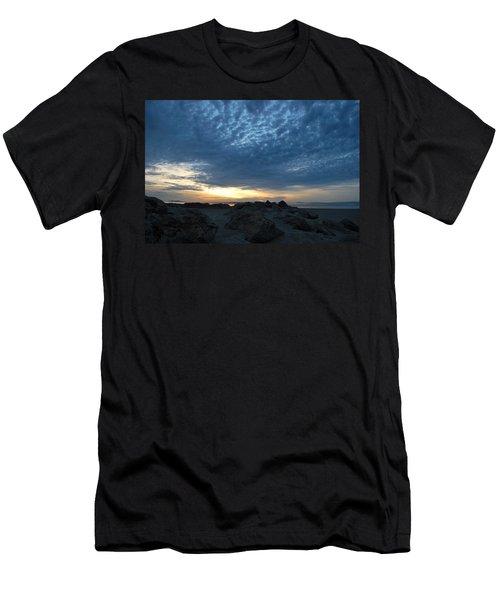 California Rocky Beach Sunset  Men's T-Shirt (Athletic Fit)