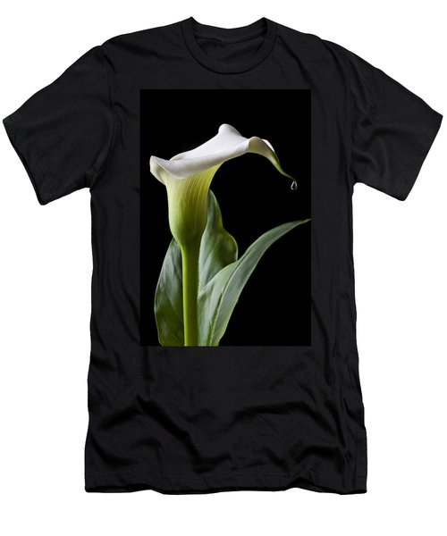 Calla Lily With Drip Men's T-Shirt (Slim Fit) by Garry Gay