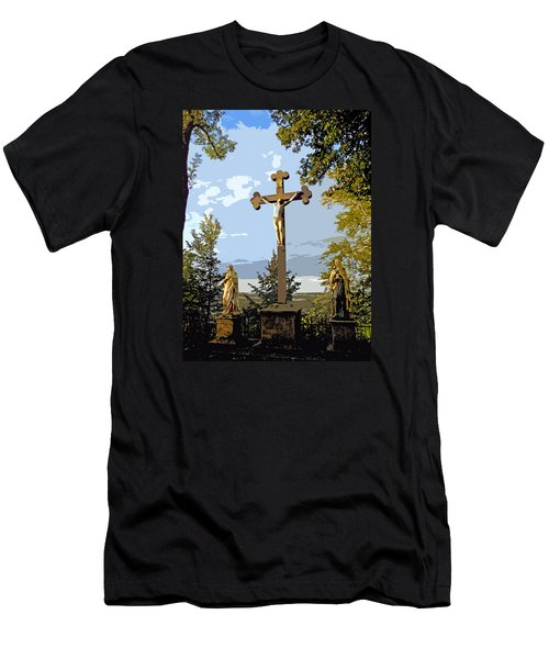 Men's T-Shirt (Slim Fit) featuring the photograph Calvary Group - Parkstein by Juergen Weiss
