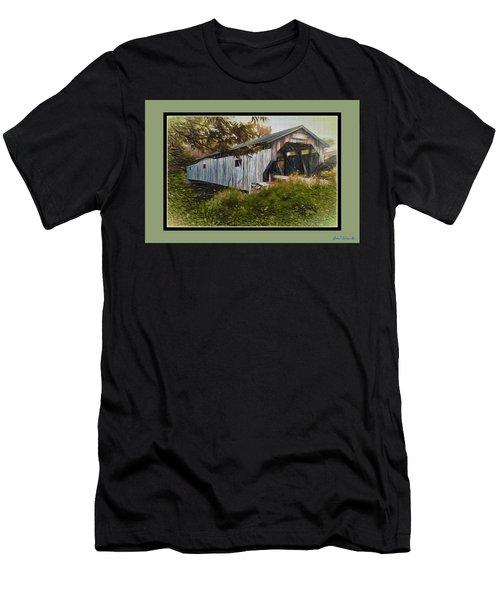 Men's T-Shirt (Slim Fit) featuring the digital art Cambridge Jct. Bridge by John Selmer Sr