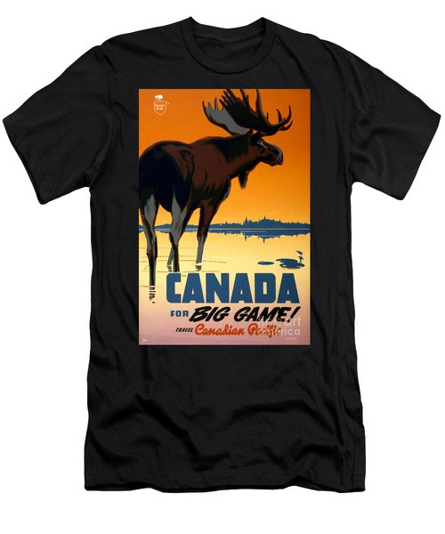 Canada Big Game Vintage Travel Poster Restored Men's T-Shirt (Athletic Fit)