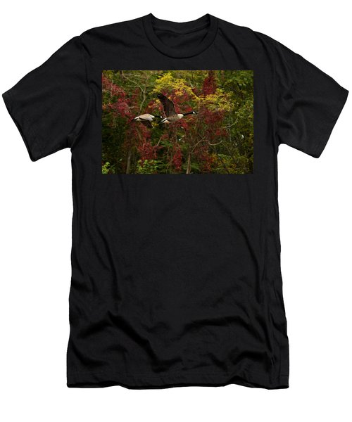 Men's T-Shirt (Athletic Fit) featuring the photograph Canada Geese In Autumn by Angel Cher