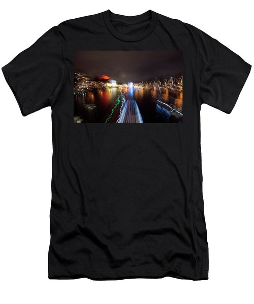 Canal Streaking Abstract Men's T-Shirt (Athletic Fit)
