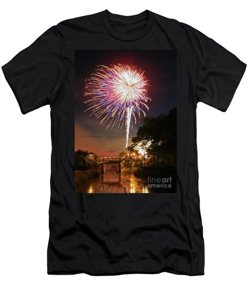 Canal View Of Fire Works Men's T-Shirt (Athletic Fit)