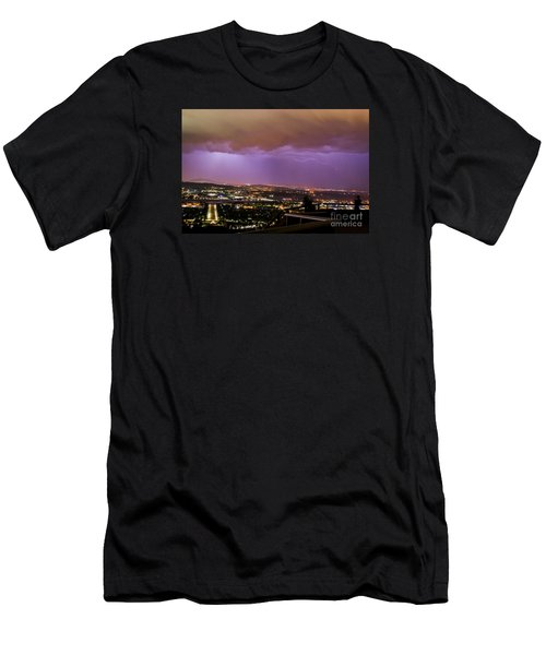 Men's T-Shirt (Athletic Fit) featuring the photograph Canberra Lightning Storm by Angela DeFrias