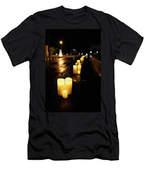 Candles On The Beach Men's T-Shirt (Athletic Fit)