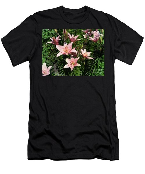 Candy-striped Day Lilies Men's T-Shirt (Athletic Fit)