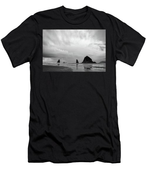 Cannon Beach In Black And White Men's T-Shirt (Athletic Fit)