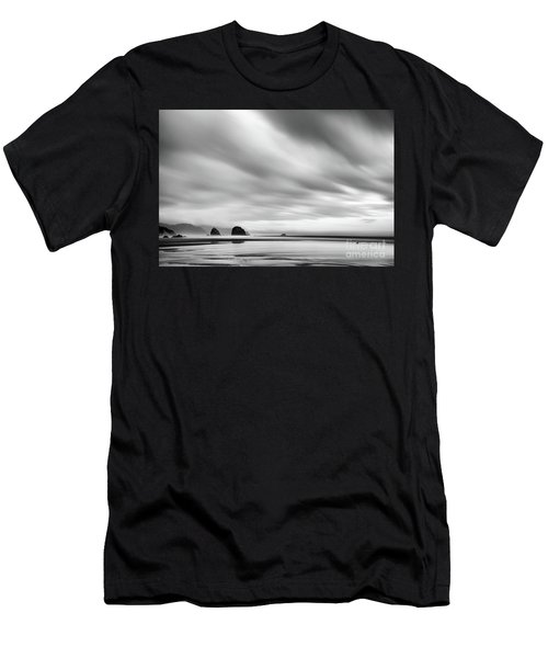 Cannon Beach Long Exposure Sunrise In Black And White Men's T-Shirt (Athletic Fit)
